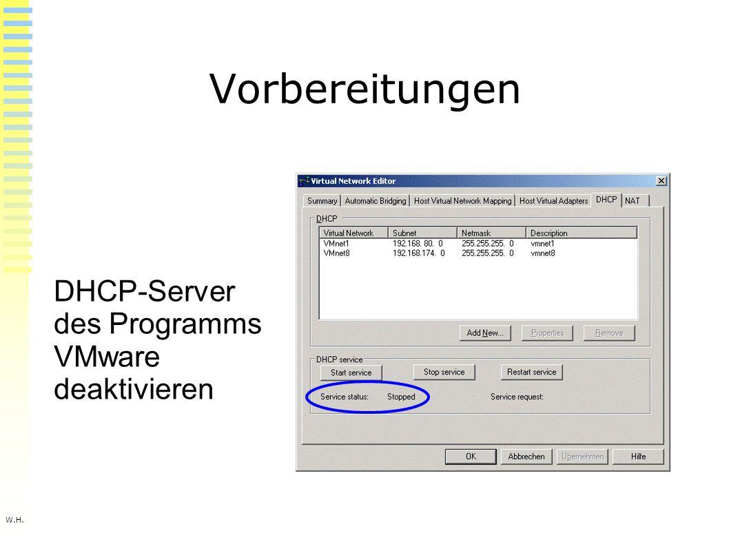 W.H. Vorbereitungen DHCP-Server des Programms VMware deaktivieren