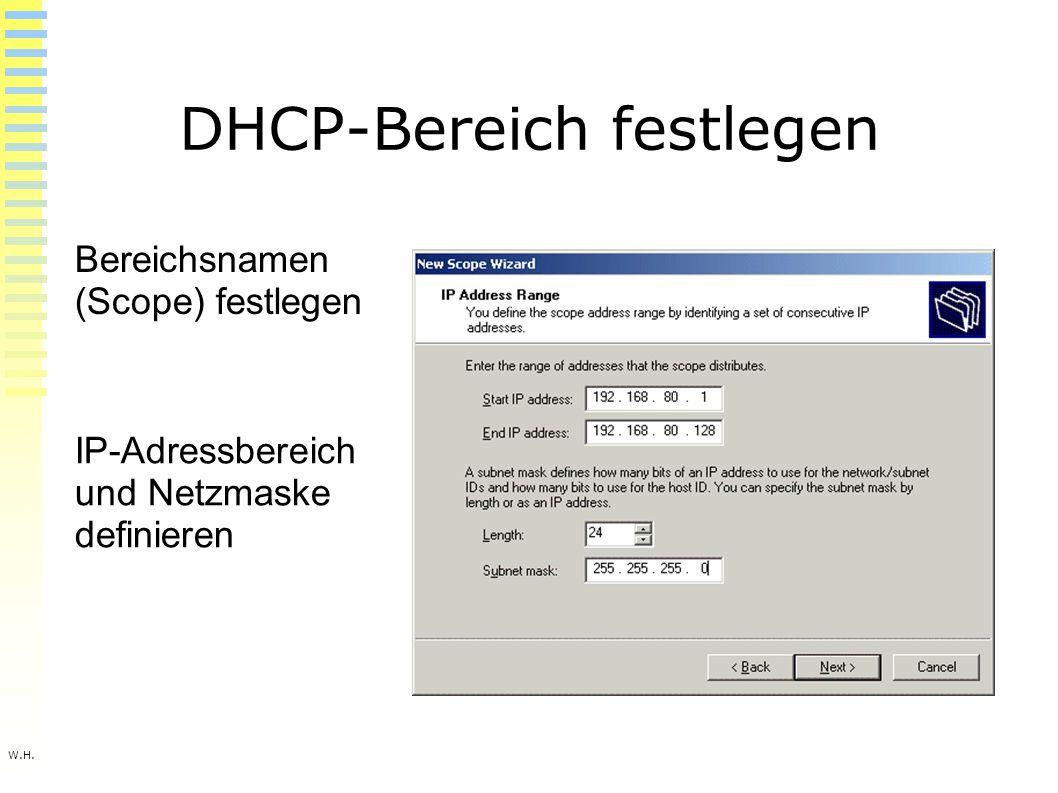 W.H. DHCP-Bereich festlegen Bereichsnamen (Scope) festlegen IP-Adressbereich und Netzmaske definieren