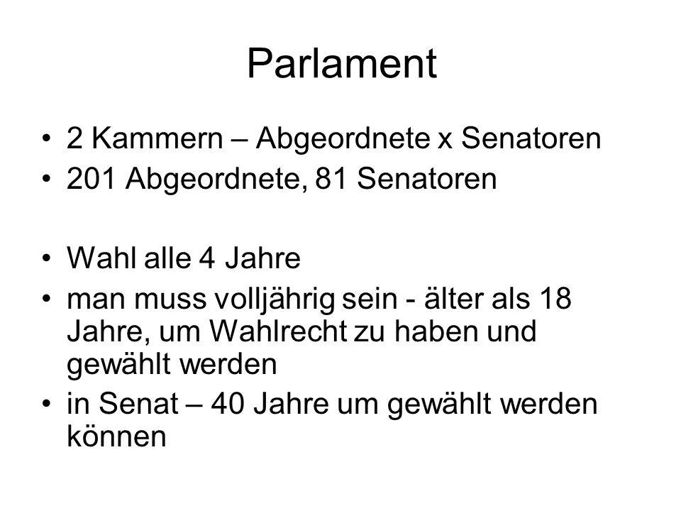 Parlament 2 Kammern – Abgeordnete x Senatoren 201 Abgeordnete, 81 Senatoren Wahl alle 4 Jahre man muss volljährig sein - älter als 18 Jahre, um Wahlrecht zu haben und gewählt werden in Senat – 40 Jahre um gewählt werden können