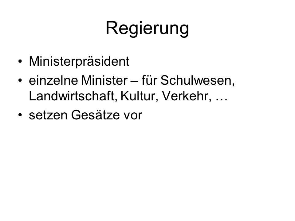 Regierung Ministerpräsident einzelne Minister – für Schulwesen, Landwirtschaft, Kultur, Verkehr, … setzen Gesätze vor