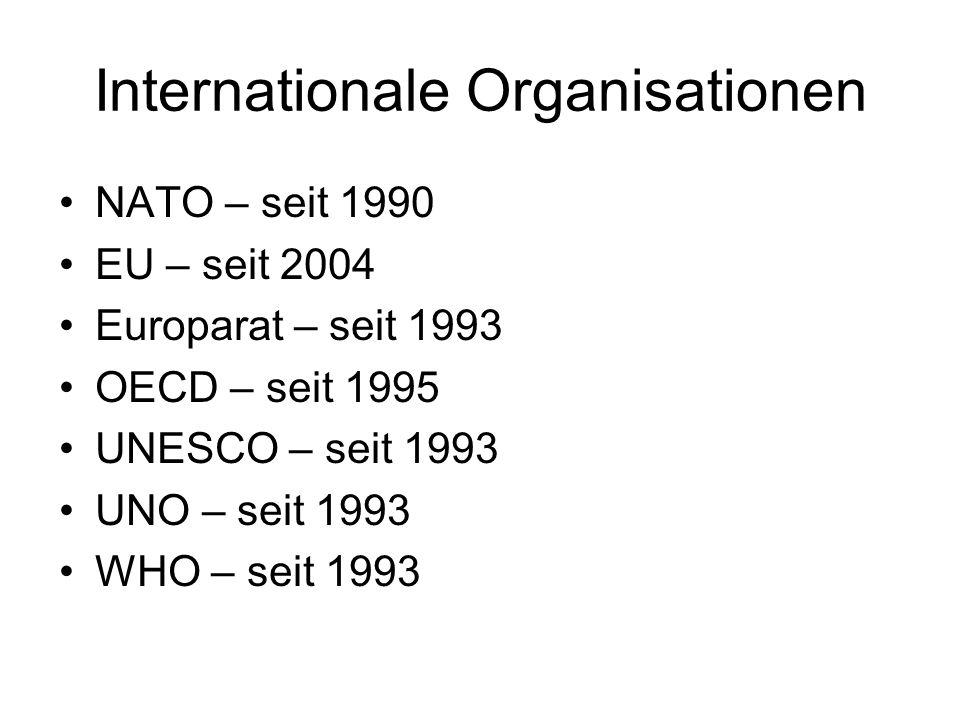 Internationale Organisationen NATO – seit 1990 EU – seit 2004 Europarat – seit 1993 OECD – seit 1995 UNESCO – seit 1993 UNO – seit 1993 WHO – seit 1993