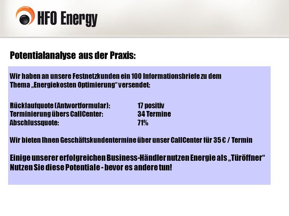 """Potentialanalyse aus der Praxis: Wir haben an unsere Festnetzkunden ein 100 Informationsbriefe zu dem Thema """"Energiekosten Optimierung"""" versendet: Rüc"""