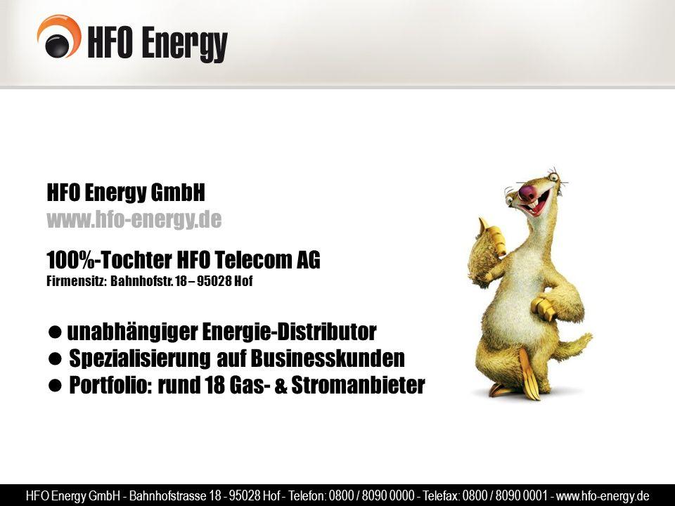 HFO Energy GmbH www.hfo-energy.de 100%-Tochter HFO Telecom AG Firmensitz: Bahnhofstr. 18 – 95028 Hof unabhängiger Energie-Distributor Spezialisierung