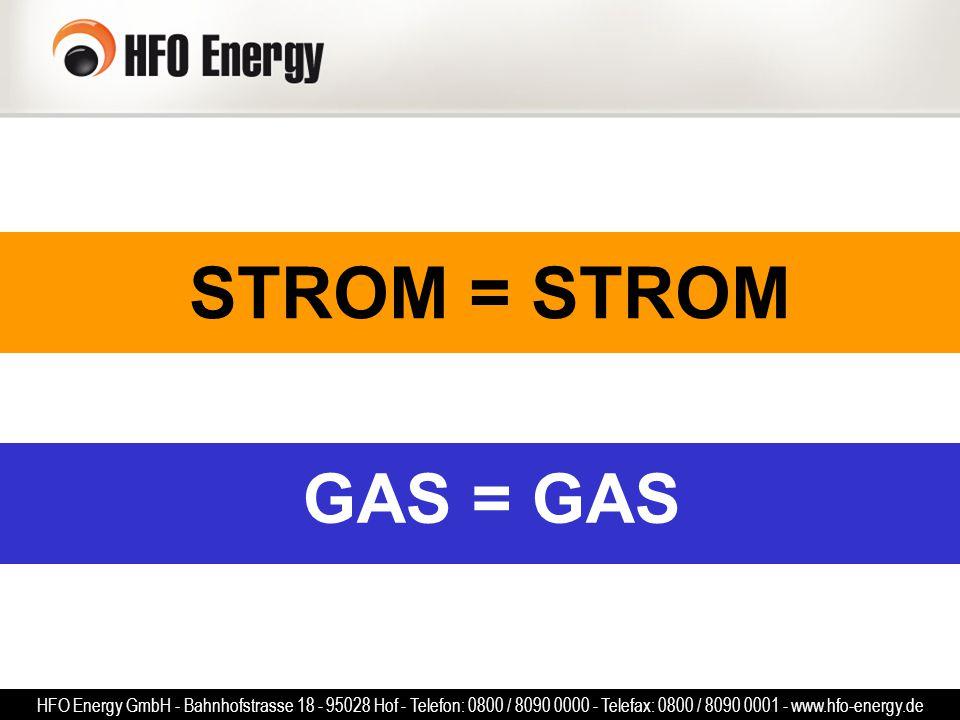 GAS = GAS STROM = STROM HFO Energy GmbH - Bahnhofstrasse 18 - 95028 Hof - Telefon: 0800 / 8090 0000 - Telefax: 0800 / 8090 0001 - www.hfo-energy.de