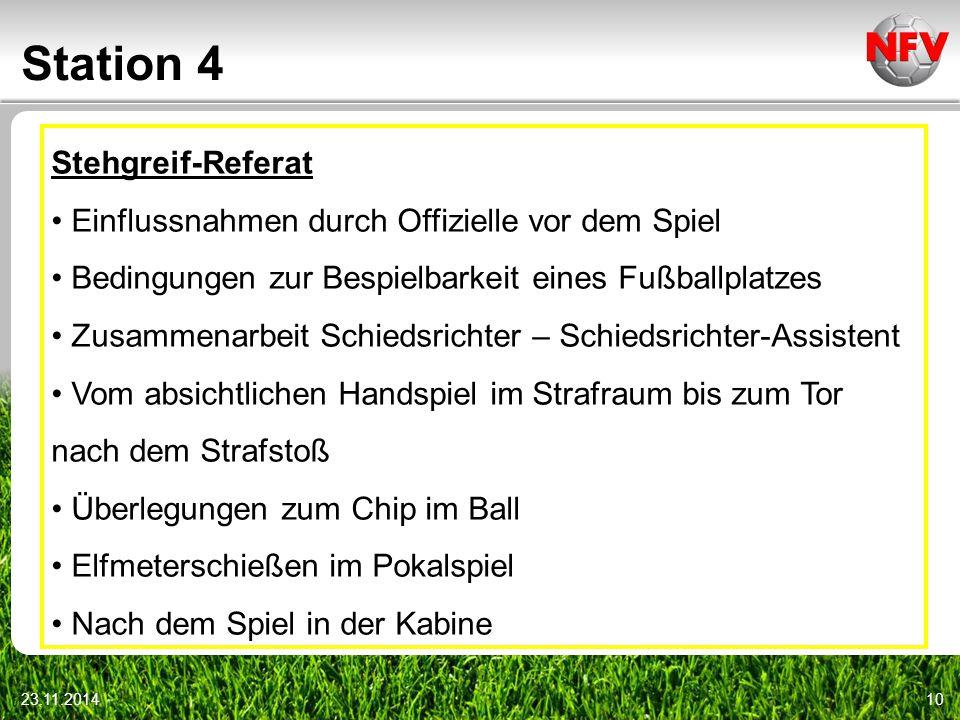 Station 4 23.11.201410 Stehgreif-Referat Einflussnahmen durch Offizielle vor dem Spiel Bedingungen zur Bespielbarkeit eines Fußballplatzes Zusammenarb