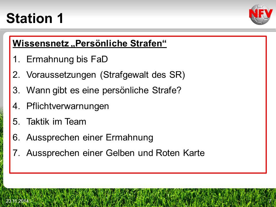 """Station 1 23.11.20147 Wissensnetz """"Persönliche Strafen"""" 1.Ermahnung bis FaD 2.Voraussetzungen (Strafgewalt des SR) 3.Wann gibt es eine persönliche Str"""