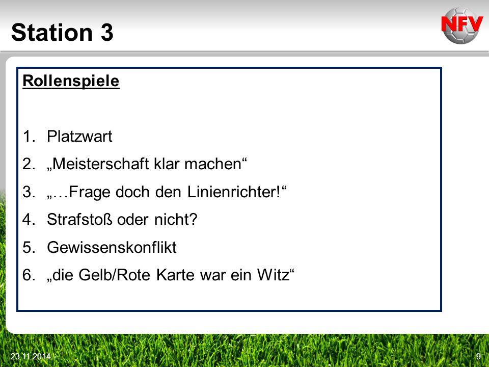 """Station 3 23.11.20149 Rollenspiele 1.Platzwart 2.""""Meisterschaft klar machen"""" 3.""""…Frage doch den Linienrichter!"""" 4.Strafstoß oder nicht? 5.Gewissenskon"""