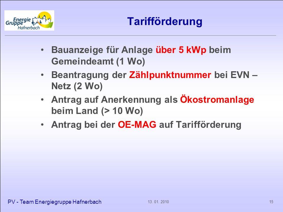 Tarifförderung Bauanzeige für Anlage über 5 kWp beim Gemeindeamt (1 Wo) Beantragung der Zählpunktnummer bei EVN – Netz (2 Wo) Antrag auf Anerkennung a