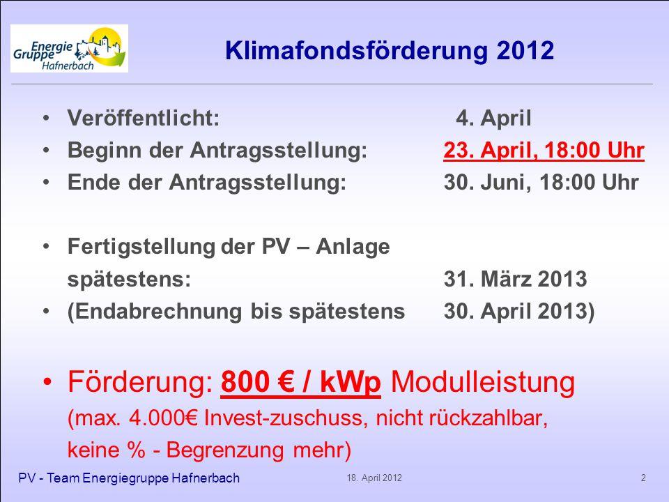 Klimafondsförderung 2012 Fördermittel sind begrenzt NÖ: 6.739.700 € = 8425 kWp = knapp 1700 Anlagen zu 5 kWp Wer zuerst kommt, mahlt zuerst.