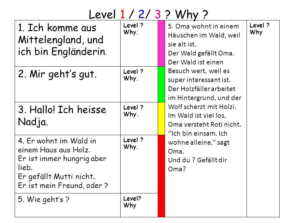 Level 1 / 2/ 3 . Why . 1. Ich komme aus Mittelengland, und ich bin Engländerin.
