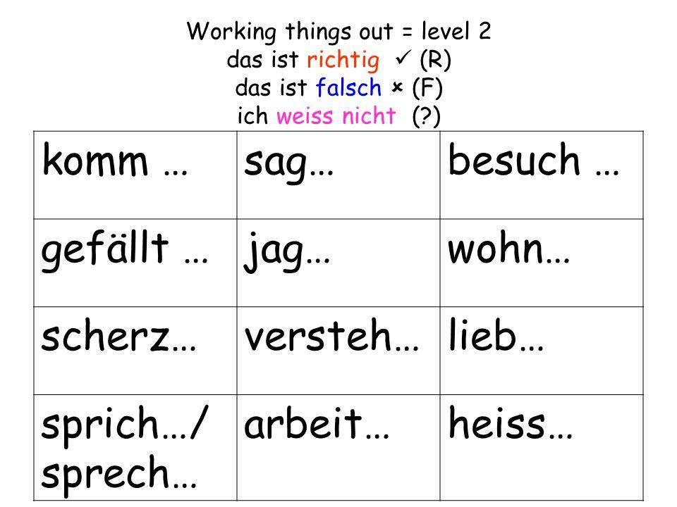 Working things out = level 2 das ist richtig (R) das ist falsch  (F) ich weiss nicht ( ) komm …sag…besuch … gefällt …jag…wohn… scherz…versteh…lieb… sprich…/ sprech… arbeit…heiss…