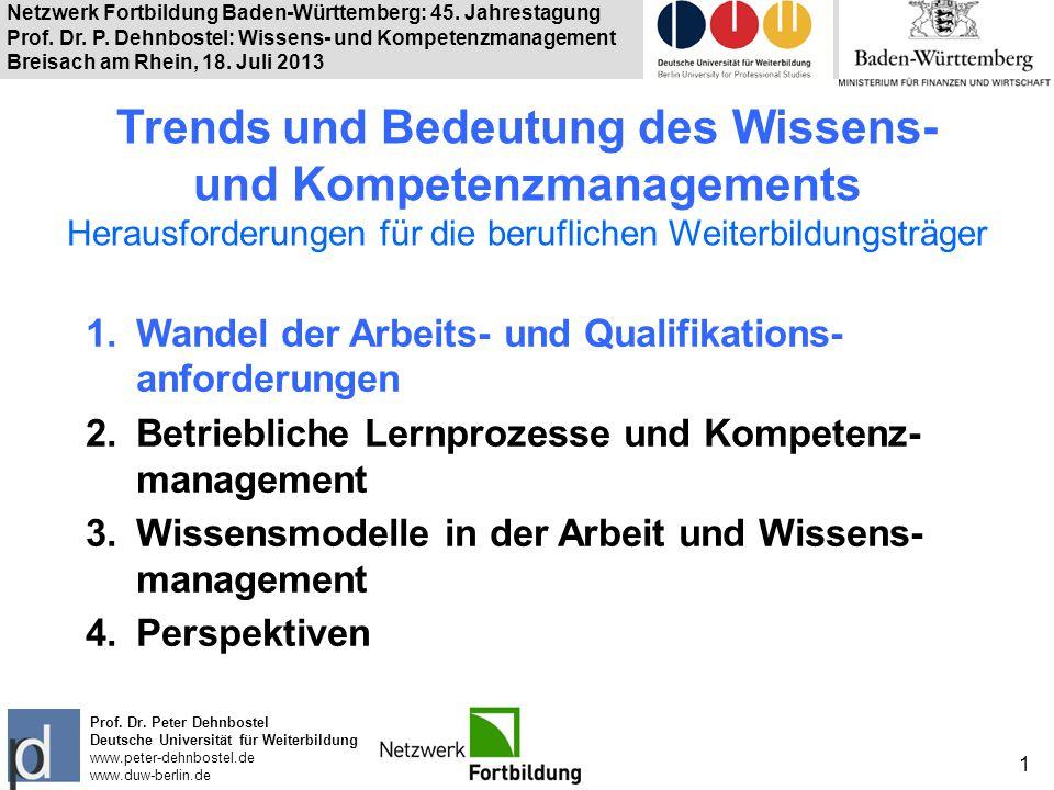 Netzwerk Fortbildung Baden-Württemberg: 45. Jahrestagung Prof. Dr. P. Dehnbostel: Wissens- und Kompetenzmanagement Breisach am Rhein, 18. Juli 2013 1
