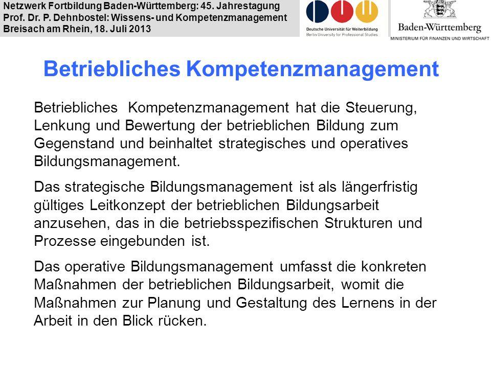 Netzwerk Fortbildung Baden-Württemberg: 45. Jahrestagung Prof. Dr. P. Dehnbostel: Wissens- und Kompetenzmanagement Breisach am Rhein, 18. Juli 2013 Be