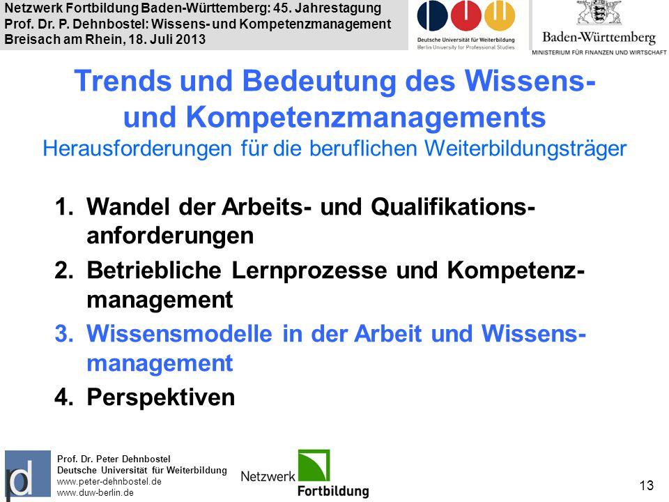 Netzwerk Fortbildung Baden-Württemberg: 45. Jahrestagung Prof. Dr. P. Dehnbostel: Wissens- und Kompetenzmanagement Breisach am Rhein, 18. Juli 2013 13