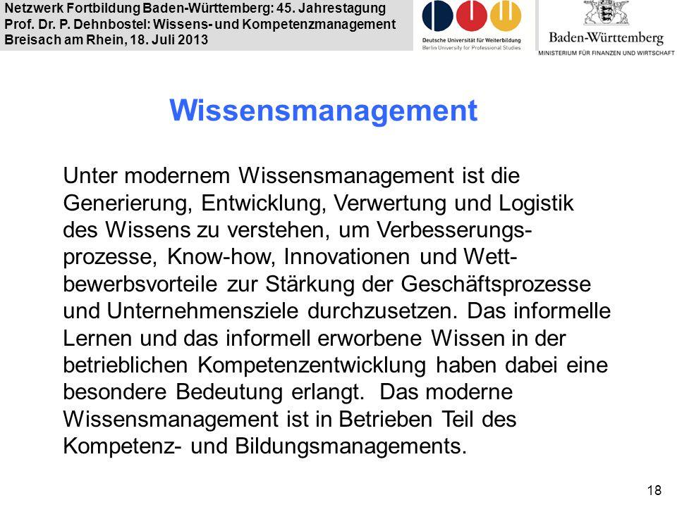 Netzwerk Fortbildung Baden-Württemberg: 45. Jahrestagung Prof. Dr. P. Dehnbostel: Wissens- und Kompetenzmanagement Breisach am Rhein, 18. Juli 2013 Wi