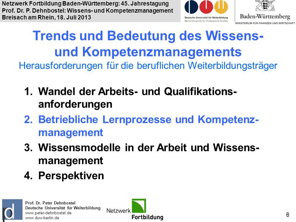 Netzwerk Fortbildung Baden-Württemberg: 45. Jahrestagung Prof. Dr. P. Dehnbostel: Wissens- und Kompetenzmanagement Breisach am Rhein, 18. Juli 2013 6