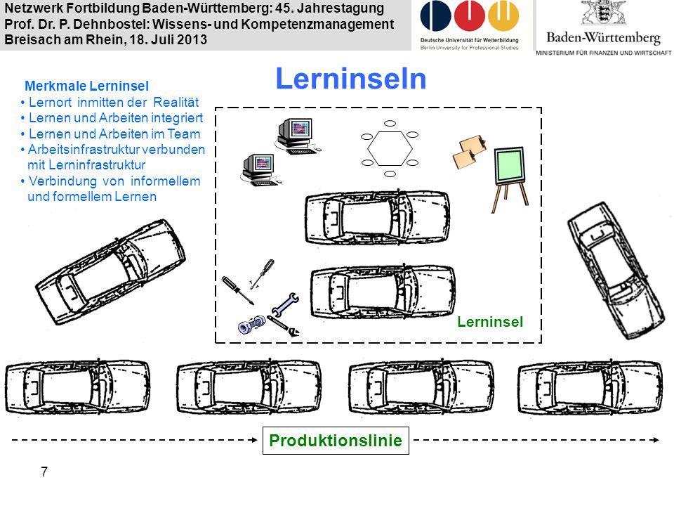 Netzwerk Fortbildung Baden-Württemberg: 45. Jahrestagung Prof. Dr. P. Dehnbostel: Wissens- und Kompetenzmanagement Breisach am Rhein, 18. Juli 2013 7