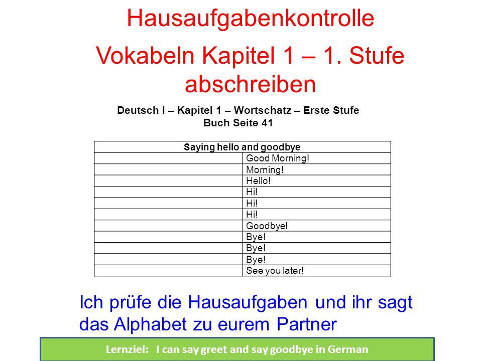 Hausaufgabenkontrolle Vokabeln Kapitel 1 – 1.