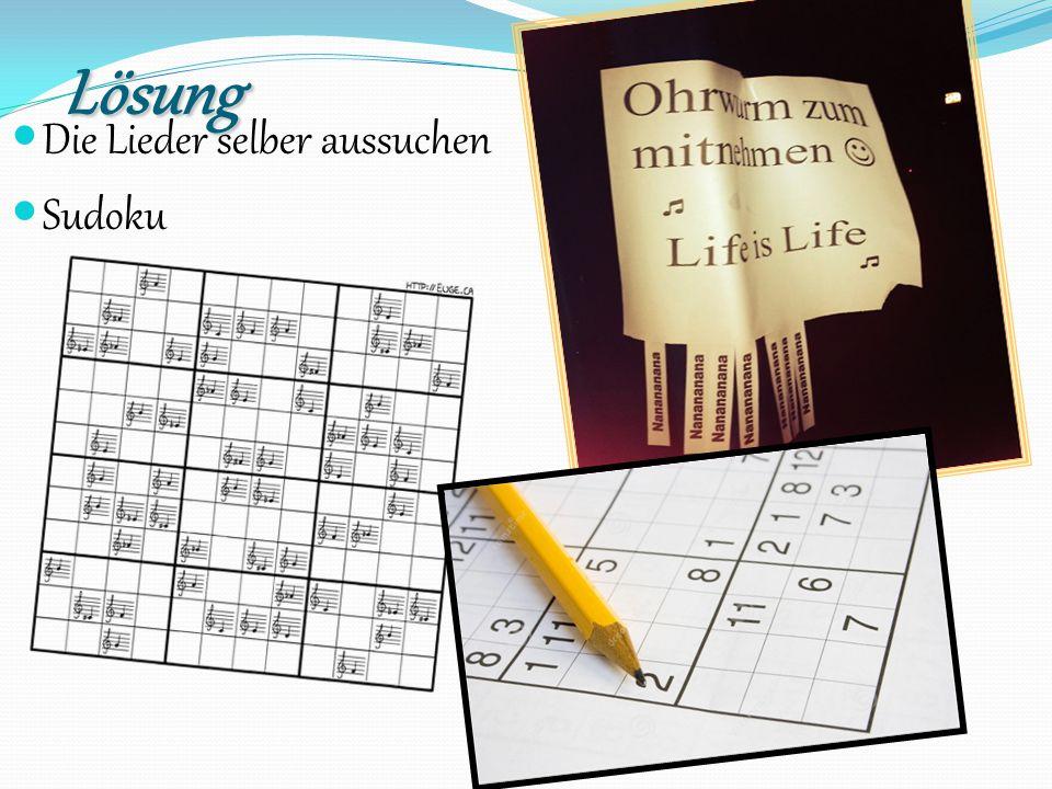 Lösung Die Lieder selber aussuchen Sudoku