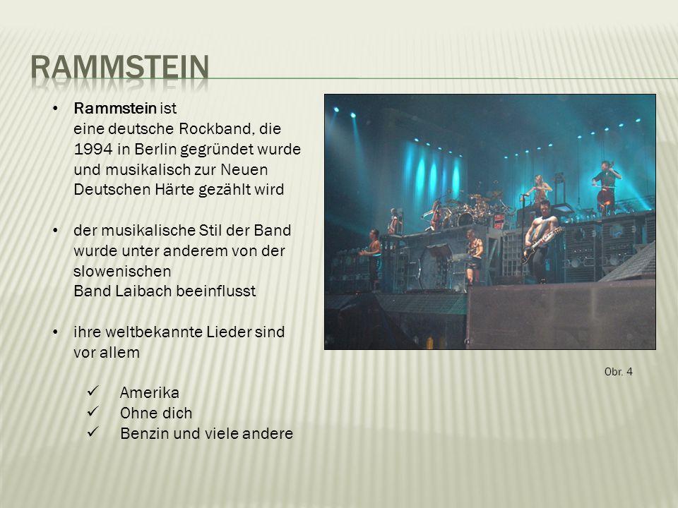 Rammstein ist eine deutsche Rockband, die 1994 in Berlin gegründet wurde und musikalisch zur Neuen Deutschen Härte gezählt wird der musikalische Stil der Band wurde unter anderem von der slowenischen Band Laibach beeinflusst ihre weltbekannte Lieder sind vor allem Amerika Ohne dich Benzin und viele andere Obr.