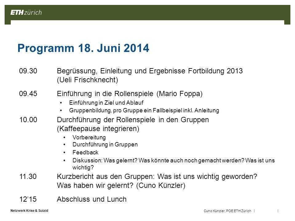 || Netzwerk Krise & Suizid Cuno Künzler, POE ETH Zürich Programm 18.