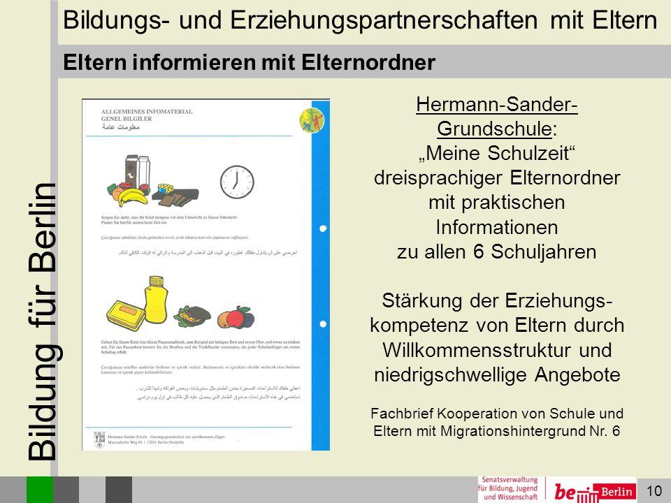 """10 Bildung für Berlin Eltern informieren mit Elternordner Hermann-Sander- Grundschule: """"Meine Schulzeit"""" dreisprachiger Elternordner mit praktischen I"""