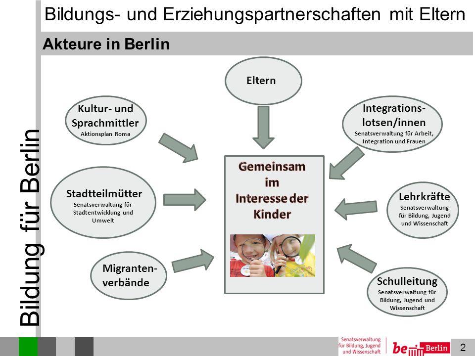 2 Bildung für Berlin Akteure in Berlin Lehrkräfte Senatsverwaltung für Bildung, Jugend und Wissenschaft Schulleitung Senatsverwaltung für Bildung, Jug