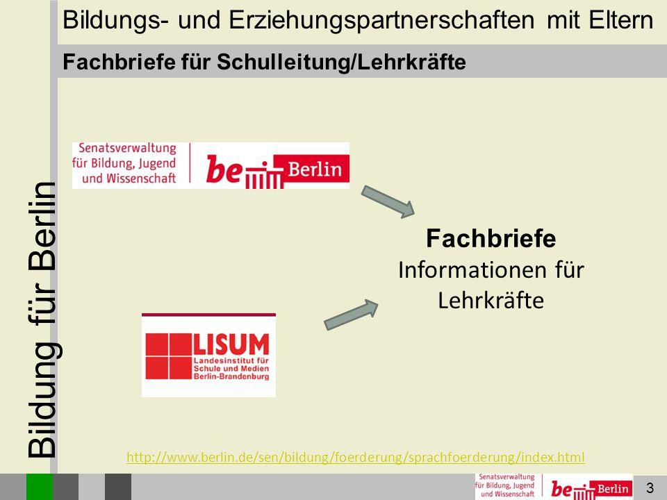 14 Bildung für Berlin Integrationslotsen/-lotsinnen Die Senatsverwaltung für Arbeit, Integration und Frauen stellt in den Jahren 2014 und 2015 je 2,2 Millionen Euro für die Arbeit der Integrationslotsinnen und -lotsen zur Verfügung.