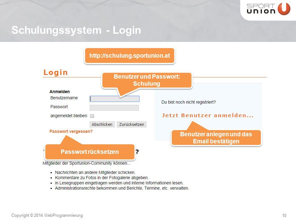 10 Copyright © 2014 WebProgrammierung Schulungssystem - Login http://schulung.sportunion.at Benutzer und Passwort: Schulung Benutzer und Passwort: Schulung Benutzer anlegen und das Email bestätigen Passwort rücksetzen