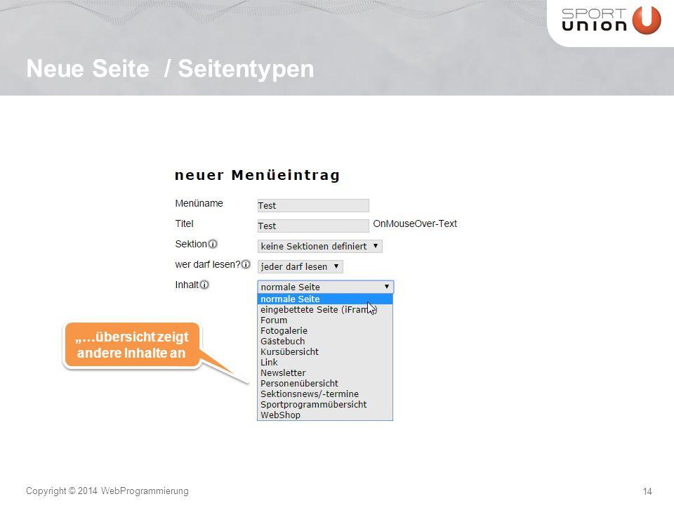 """14 Copyright © 2014 WebProgrammierung Neue Seite / Seitentypen """"…übersicht zeigt andere Inhalte an"""