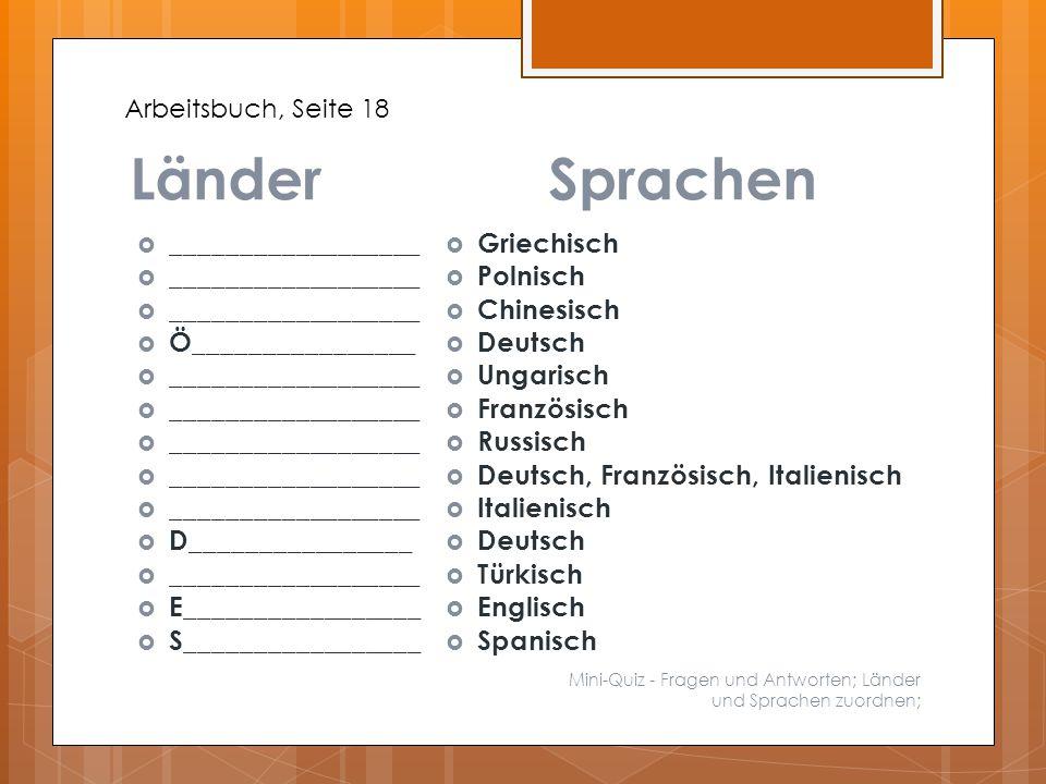 LänderSprachen Mini-Quiz - Fragen und Antworten; Länder und Sprachen zuordnen;  __________________  Ö________________  __________________  D______