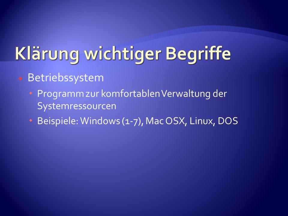  Betriebssystem  Programm zur komfortablen Verwaltung der Systemressourcen  Beispiele: Windows (1-7), Mac OSX, Linux, DOS