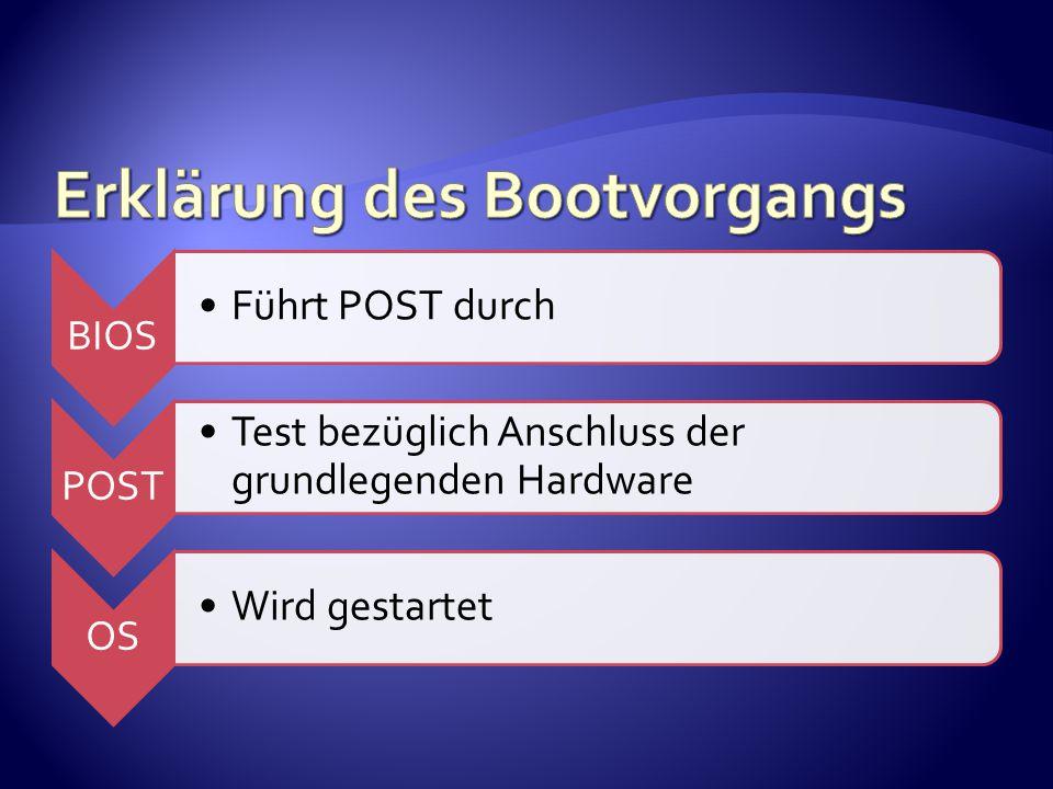 BIOS Führt POST durch POST Test bezüglich Anschluss der grundlegenden Hardware OS Wird gestartet