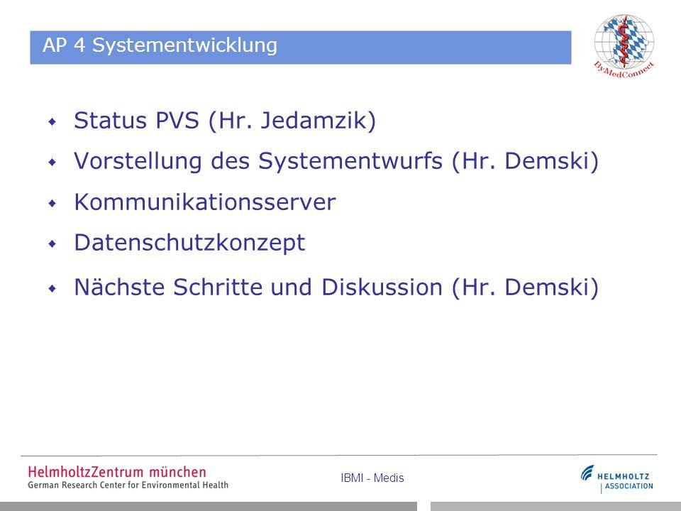 AP 4 Systementwicklung  Status PVS (Hr. Jedamzik)  Vorstellung des Systementwurfs (Hr.