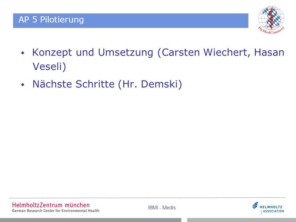 IBMI - Medis AP 5 Pilotierung  Konzept und Umsetzung (Carsten Wiechert, Hasan Veseli)  Nächste Schritte (Hr.