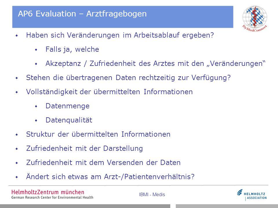 IBMI - Medis AP6 Evaluation – Arztfragebogen  Haben sich Veränderungen im Arbeitsablauf ergeben.