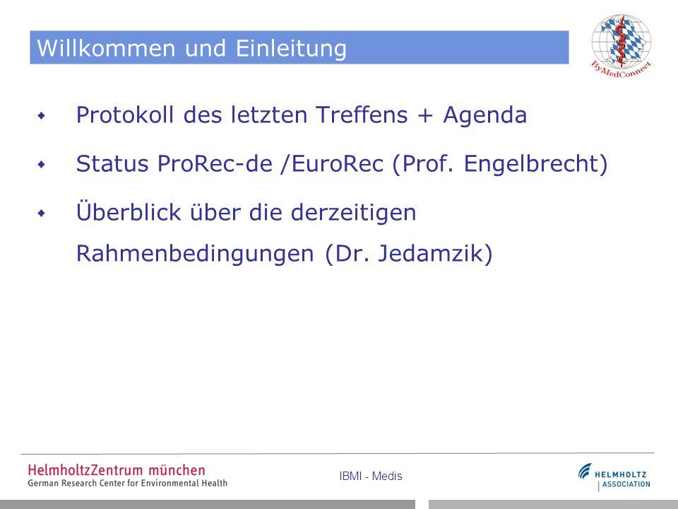 IBMI - Medis Willkommen und Einleitung  Protokoll des letzten Treffens + Agenda  Status ProRec-de /EuroRec (Prof.