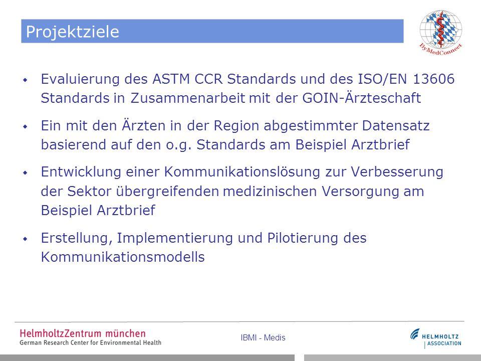IBMI - Medis Projektziele  Evaluierung des ASTM CCR Standards und des ISO/EN 13606 Standards in Zusammenarbeit mit der GOIN-Ärzteschaft  Ein mit den Ärzten in der Region abgestimmter Datensatz basierend auf den o.g.
