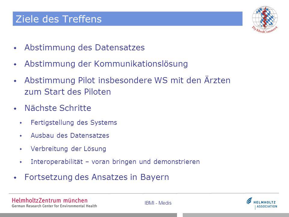 IBMI - Medis Ziele des Treffens  Abstimmung des Datensatzes  Abstimmung der Kommunikationslösung  Abstimmung Pilot insbesondere WS mit den Ärzten zum Start des Piloten  Nächste Schritte  Fertigstellung des Systems  Ausbau des Datensatzes  Verbreitung der Lösung  Interoperabilität – voran bringen und demonstrieren  Fortsetzung des Ansatzes in Bayern