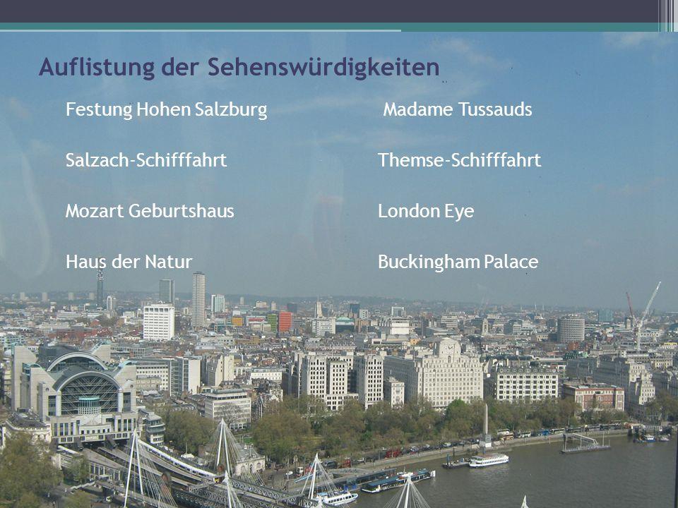 Auflistung der Sehenswürdigkeiten Festung Hohen Salzburg Madame Tussauds Salzach-Schifffahrt Themse-Schifffahrt Mozart Geburtshaus London Eye Haus der Natur Buckingham Palace