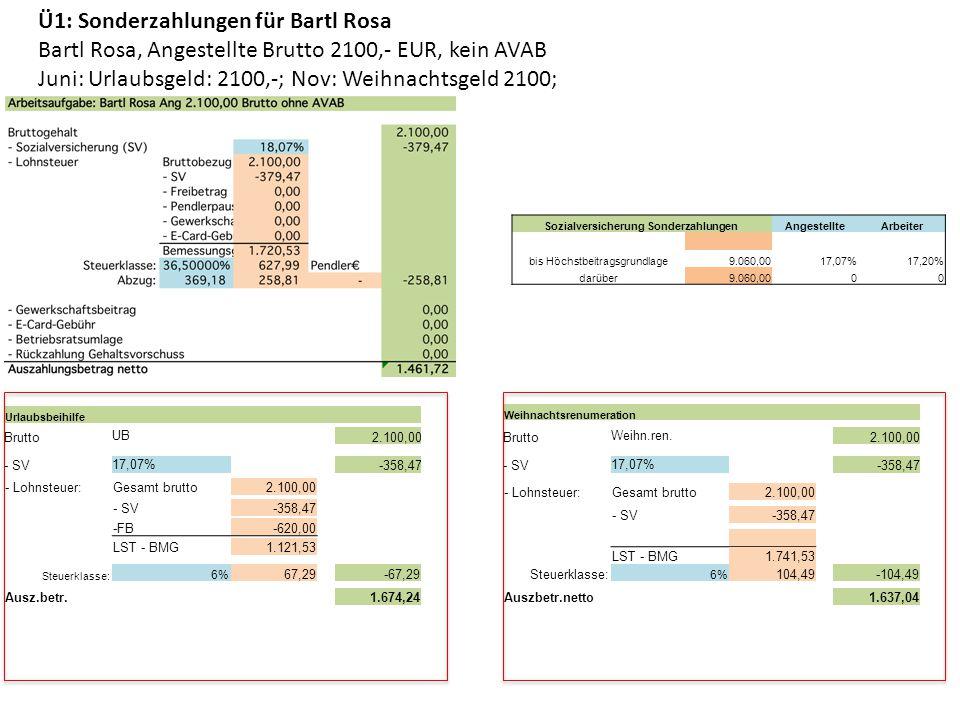 Ü1: Sonderzahlungen für Bartl Rosa Bartl Rosa, Angestellte Brutto 2100,- EUR, kein AVAB Juni: Urlaubsgeld: 2100,-; Nov: Weihnachtsgeld 2100; Urlaubsbe