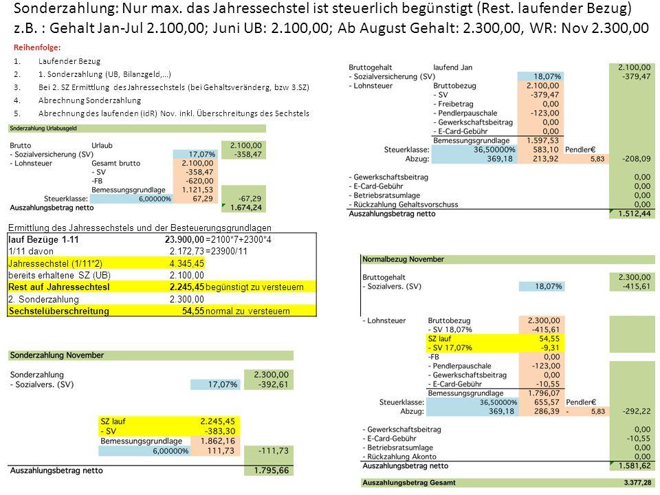 Sonderzahlung: Nur max. das Jahressechstel ist steuerlich begünstigt (Rest. laufender Bezug) z.B. : Gehalt Jan-Jul 2.100,00; Juni UB: 2.100,00; Ab Aug