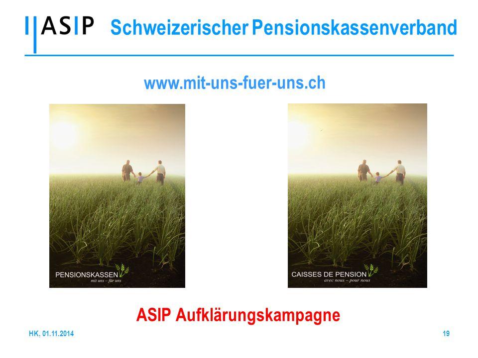 Schweizerischer Pensionskassenverband www.mit-uns-fuer-uns.ch ASIP Aufklärungskampagne 19HK, 01.11.2014
