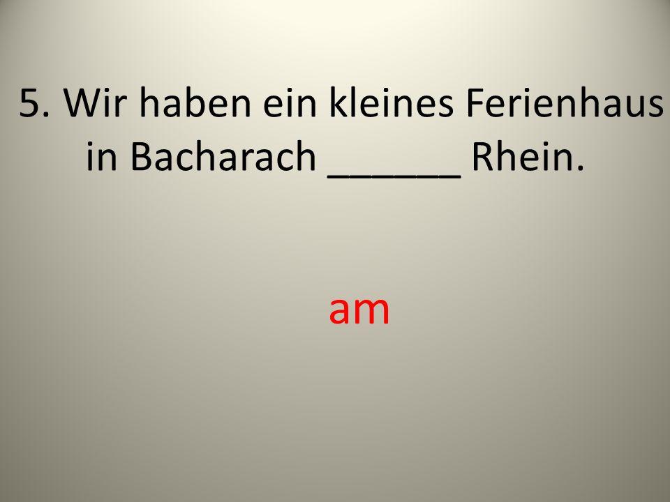 5. Wir haben ein kleines Ferienhaus in Bacharach ______ Rhein. am