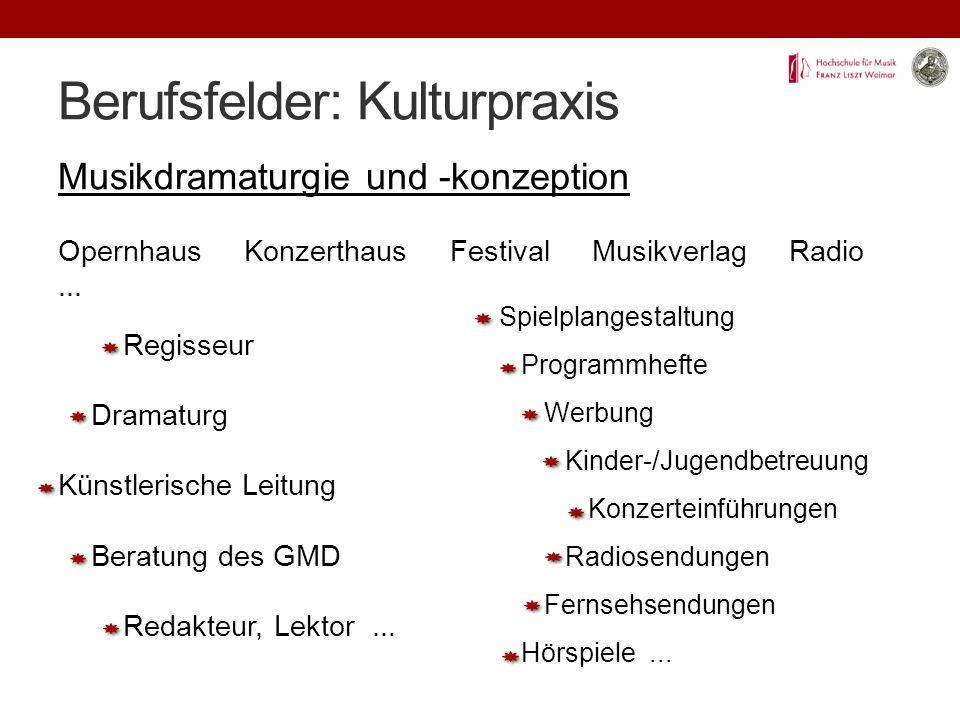 Berufsfelder: Kulturpraxis Musikdramaturgie und -konzeption Opernhaus Konzerthaus Festival Musikverlag Radio...