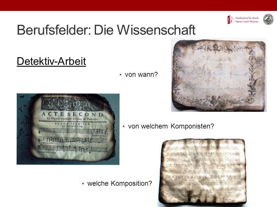 Berufsfelder: Die Wissenschaft Detektiv-Arbeit von wann.