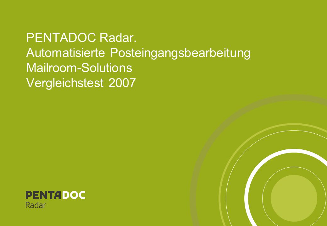 "PENTADOC Radar – Präsentations-Vorlagen12 Ergebnisdiagramm ""Dokumente OK"