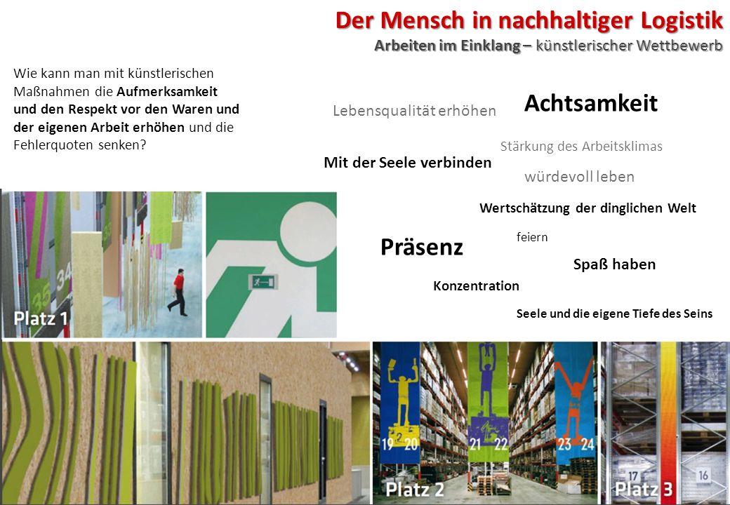 Der Mensch in nachhaltiger Logistik Arbeiten im Einklang – künstlerischer Wettbewerb Wie kann man mit künstlerischen Maßnahmen die Aufmerksamkeit und