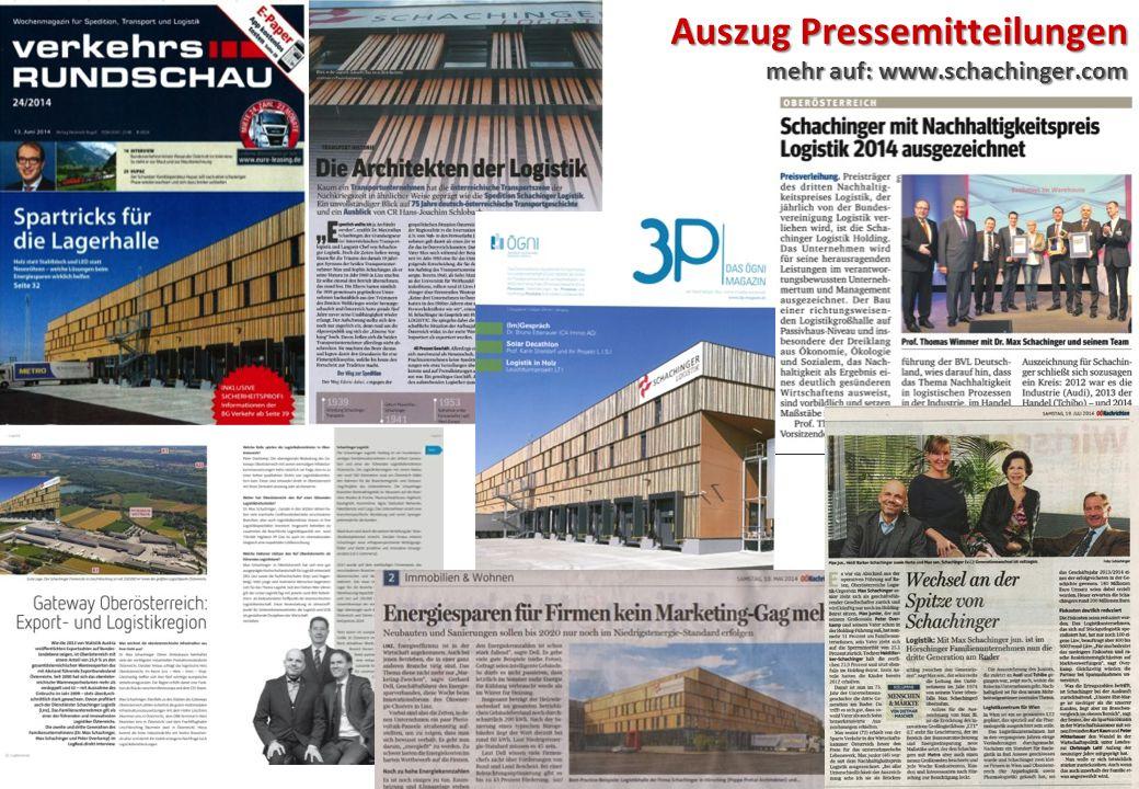 Auszug Pressemitteilungen mehr auf: www.schachinger.com