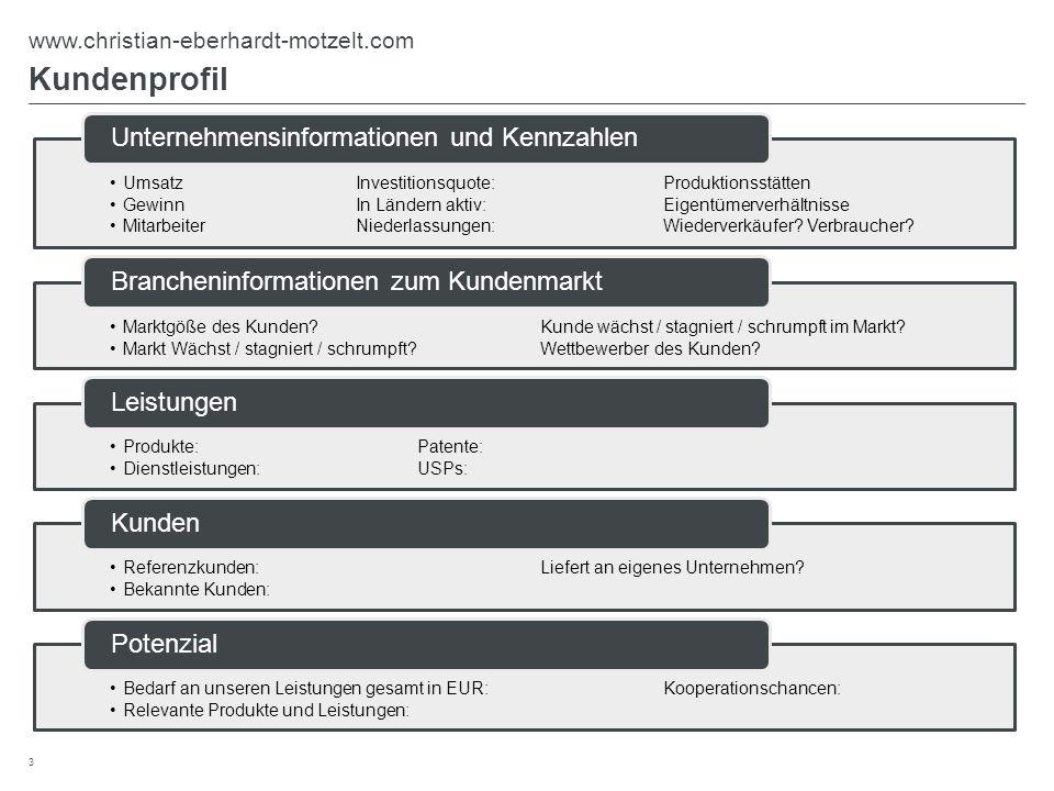 Kundenprofil 3 www.christian-eberhardt-motzelt.com UmsatzInvestitionsquote:Produktionsstätten GewinnIn Ländern aktiv:Eigentümerverhältnisse Mitarbeite